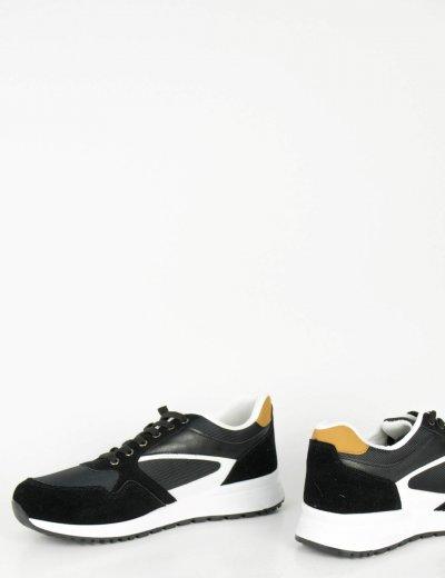 Ανδρικά μαύρα Casual Sneakers κορδόνια λευκή σόλα 1820L