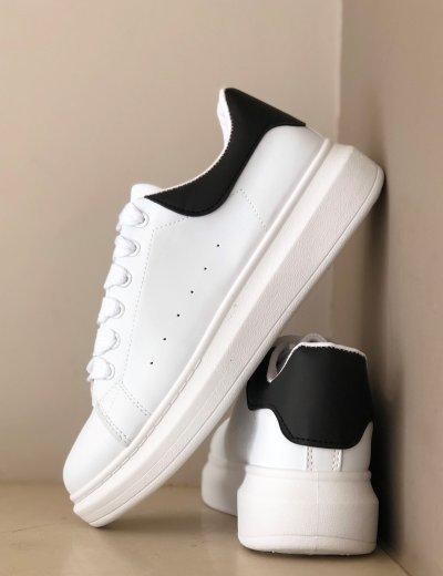 Ανδρικά λευκά μαύρο δίσολα Sneakers λαστιχένια σόλα M723R