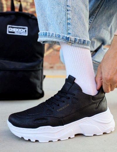Ανδρικά μαύρα Sneakers δερματίνη τρακτερωτή σόλα CH089M
