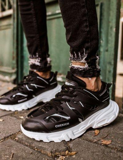 Ανδρικά μαύρα Sneakers δερματίνη τρακτερωτή σόλα CH301