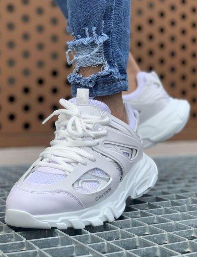 Ανδρικά λευκά Sneakers δερματίνη τρακτερωτή σόλα CH301L