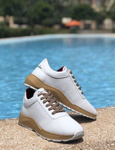 Ανδρικά λευκά Sneakers κορδόνια ανάγλυφο σχέδιο Ben Tailor 2066W