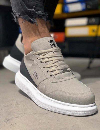 Ανδρικά γκρι Sneakers με διχρωμία 0392020