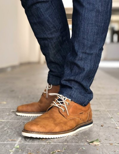 Ανδρικά κάμελ δετά παπούτσια με κορδόνια EL0707