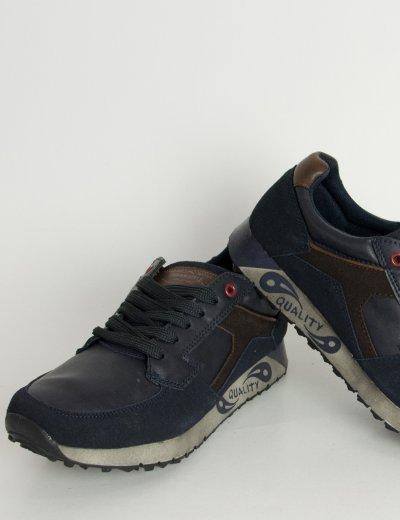 Ανδρικά Sneakers μπλε με κορδόνια MF606C
