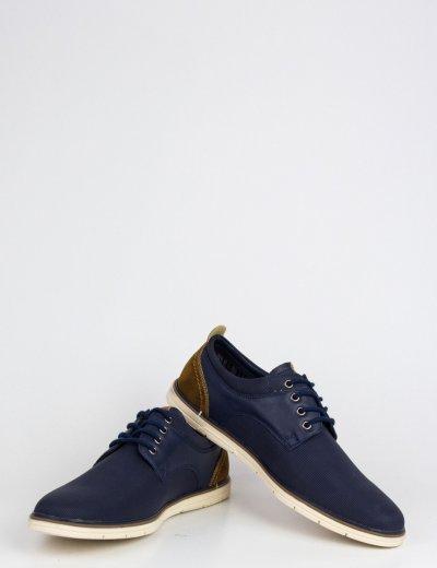 Ανδρικά μπλε δετά παπούτσια με διχρωμία EL0620