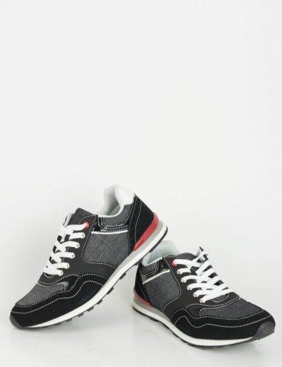 Ανδρικά μαύρα Sneakers παπούτσια με κορδόνια R8276