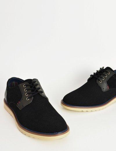 Ανδρικά δετά Casual παπούτσια μαύρο με διχρωμία EL0629W