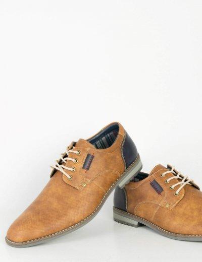 Ανδρικά κάμελ δετά παπούτσια διχρωμία κορδόνια EL0626