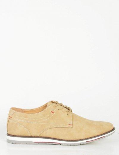 Ανδρικά μπεζ σουέντ δετά παπούτσια με κορδόνια 2717