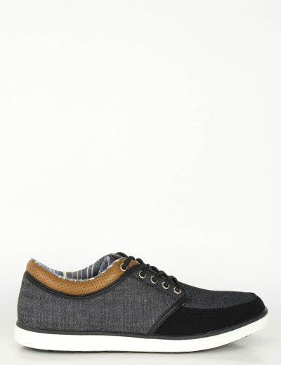 Ανδρικά Casual παπούτσια μαύρα χαμηλά κορδόνια R85180