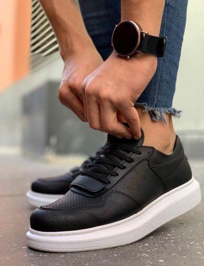 Ανδρικά μαύρα Casual Sneakers δερματίνη με Scratch CH073