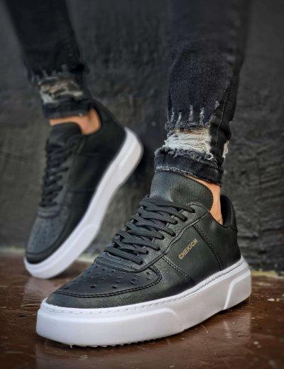 Ανδρικά μαύρα Sneakers δερματίνη CH087F
