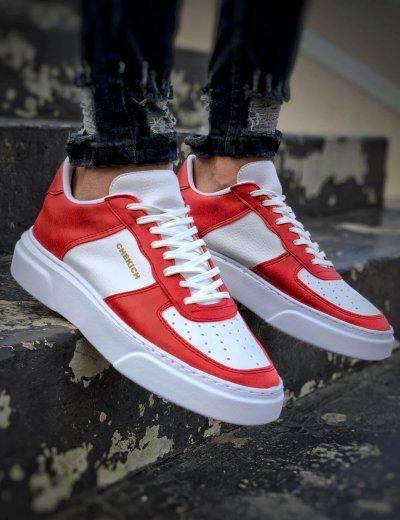 Ανδρικά κόκκινα Sneakers δερματίνη με λευκή διχρωμία CH087L