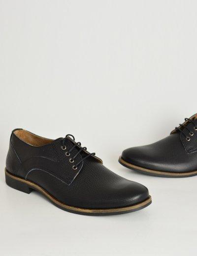Ανδρικά δερμάτινα παπούτσια Nice Step μαύρα δετά 795
