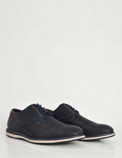Ανδρικά μπλε δετά παπούτσια με διχρωμία στην σόλα EL0628
