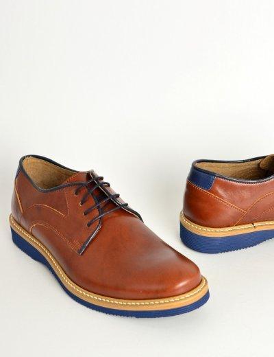 Ανδρικά δερμάτινα παπούτσια Nice Step ταμπά δετά 785G
