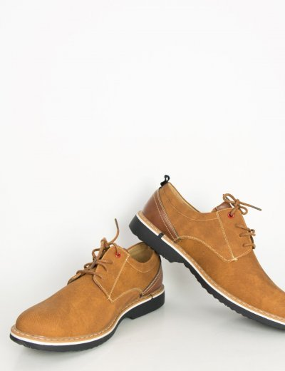 Ανδρικά κάμελ δετά παπούτσια Casual με διχρωμία X006