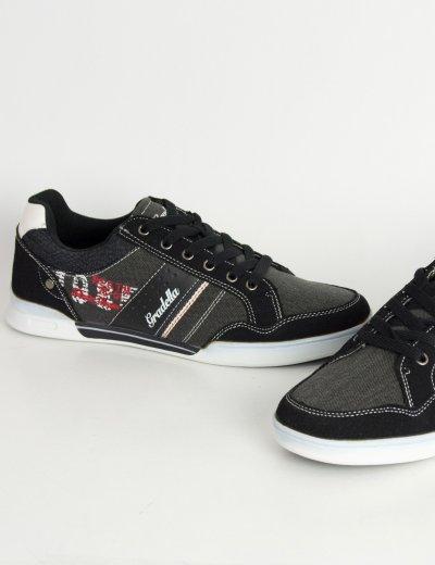 Ανδρικά Casual παπούτσια μαύρα χαμηλά κορδόνια K70422