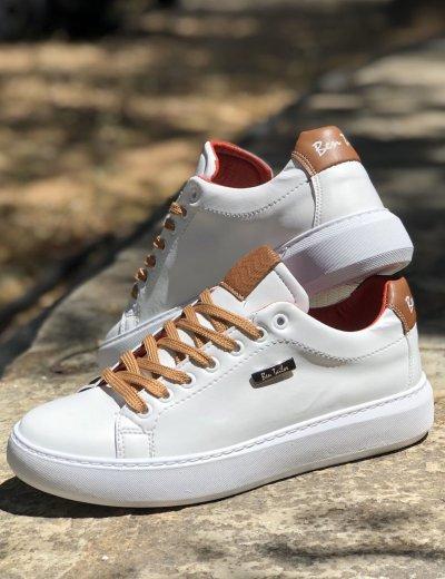 Ανδρικά λευκά καφέ Ben Tailor Sneakers Frankie 2084W