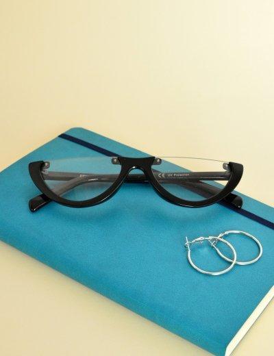 Γυναικεία γυαλιά ηλίου cat eye μαύρα διάφανα Premium S2642D