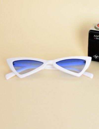 Γυναικεία γυαλιά ηλίου τριγωνικά πεταλούδα άσπρα μπλε Premium S2643U