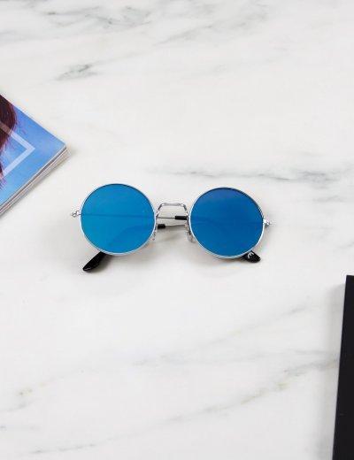 Γυναικεία μπλε στρογγυλά γυαλιά ηλίου καθρέπτης με ασημί σκελετό Luxury LS6110B