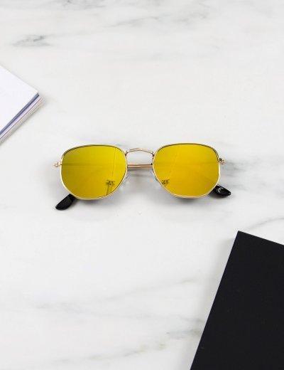 Γυναικεία χρυσό πολύγωνα γυαλιά ηλίου καθρέπτης με χρυσό σκελετό Luxury LS3065G