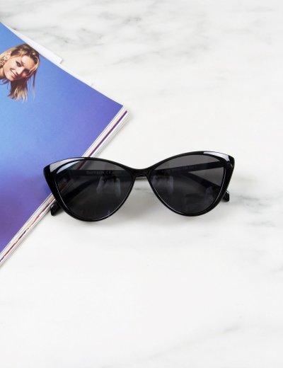 Γυναικεία μαύρα γυαλιά ηλίου cat eye με μαύρο κοκκάλινο σκελετό Luxury S1154L