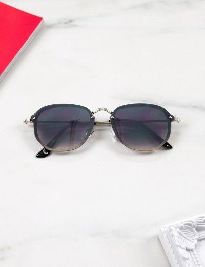 Γυναικεία μαύρα ντεγκραντέ γυαλιά ηλίου με ασημί μεταλικό σκελετό Luxury S7127L