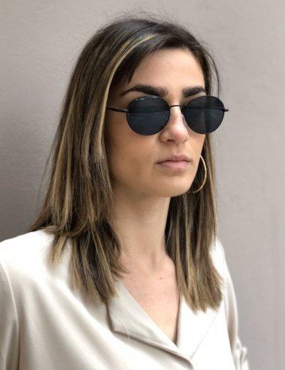 Γυναικεία μαύρα γυαλιά ηλίου οβάλ Luxury S6033