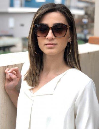 Γυναικεία λεοπάρ ντεγκραντέ γυαλιά ηλίου κοκκάλινα ιριδίζον Premium S5045R