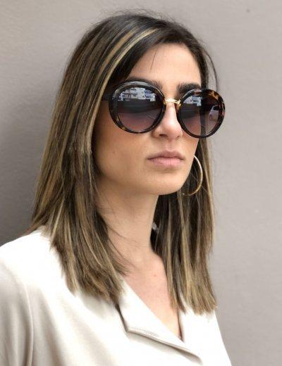 Γυναικεία λεοπάρ οβάλ κοκκάλινα γυαλιά ηλίου Premium S6051E