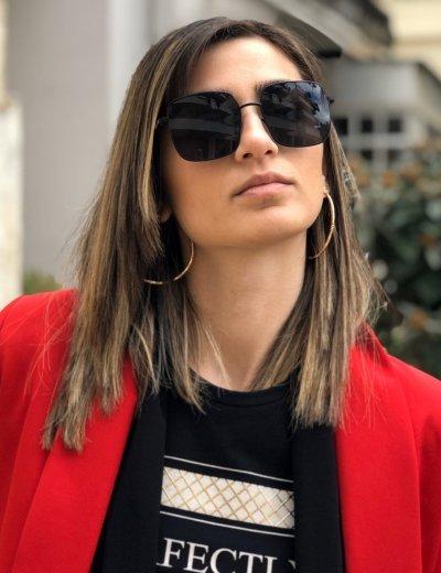 Γυναικεία μαύρα τετράγωνα γυαλιά ηλίου με μαύρο μεταλλικό σκελετό Premium S9050R