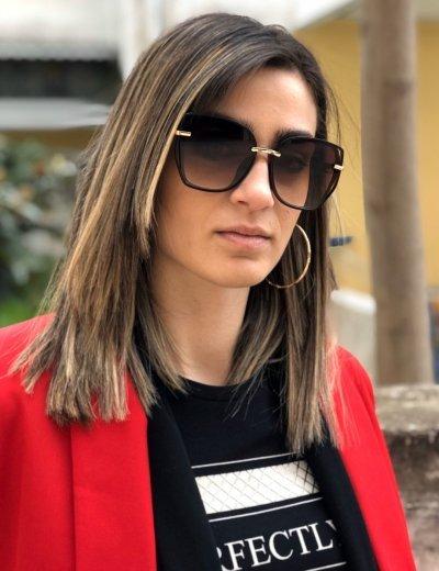 Γυναικεία καφέ σκούρο πολυγωνικά γυαλιά ηλίου με κοκκάλινο σκελετό Premium S1110Q