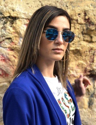Γυναικεία μπλε πολύγωνα γυαλιά ηλίου καθρέπτης Luxury S9038