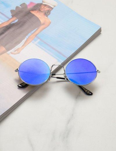 Γυναικεία πράσινα στρογγυλά γυαλιά ηλίου καθρέπτης με ασημί σκελετό Luxury LS6110P