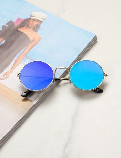 Γυναικεία πράσινα στρογγυλά γυαλιά ηλίου καθρέπτης με χρυσό σκελετό Luxury LS6110G