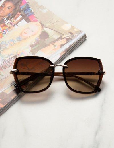 Γυναικεία καφέ σκούρο ντεγκραντέ γυαλιά ηλίου κοκκάλινα Premium S1101B