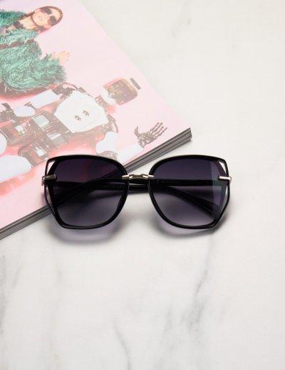 Γυναικεία μαύρα ντεγκραντέ πολυγωνικά γυαλιά ηλίου με κοκκάλινο σκελετό Premium  S1110D