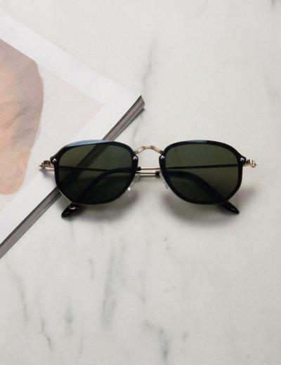 Γυναικεία πράσινα γυαλιά ηλίου με χρυσό μεταλικό σκελετό Luxury S7127G