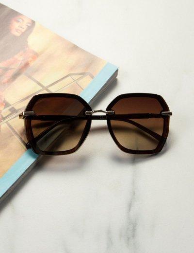 Γυναικεία καφέ σκούρο πολυγωνικά γυαλιά ηλίου με κοκκάλινο σκελετό Premium S1100