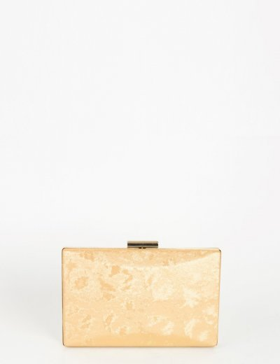 Γυναικείο χρυσό ανάγλυφο τσαντάκι Hardcase Clutch 10040C