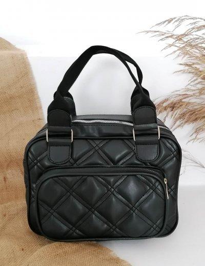 Γυναικεία μαύρη καπιτονέ τσάντα χειρός 210344R
