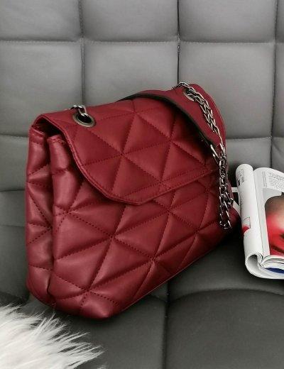 Γυναικεία μπορντό καπιτονέ τσάντα ανθρακί αλυσίδα 210345P