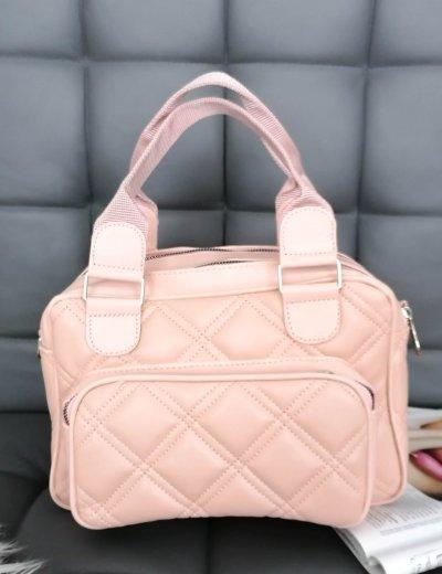 Γυναικεία ροζ καπιτονέ τσάντα χειρός 210344