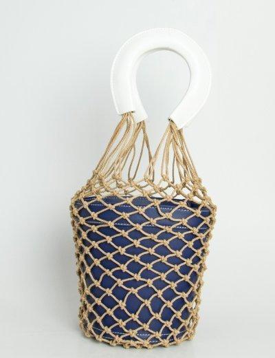 Γυναικείο τσαντάκι χειρός δερματίνη μπλε δίχτυ JK99