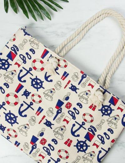 Γυναικεία μπεζ τσάντα θαλάσσης τετράγωνη με άγκυρες 3045C