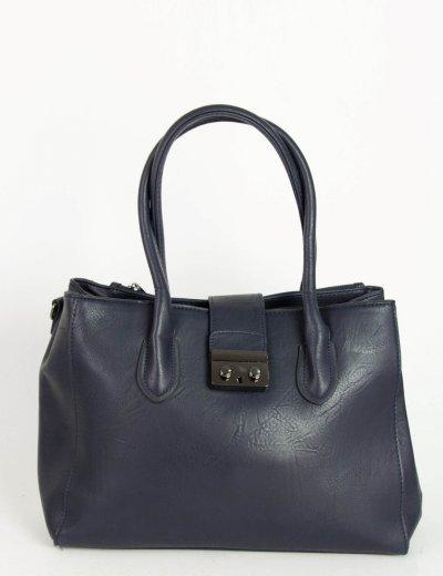 Γυναικεία μπλε τσάντα ώμου με μαγνητικό κούμπωμα 18015F