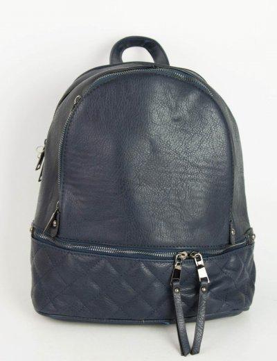 Γυναικείο μπλε Backpack δερματίνη καπιτονέ σχέδιο 52072Q